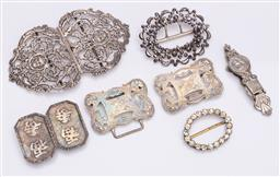 Sale 9190E - Lot 14 - Quantity of belt buckles including silver plated