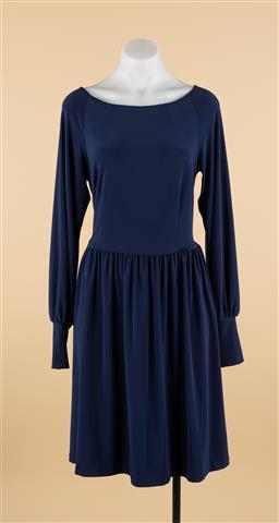 Sale 9250F - Lot 61 - A Leona Edminston blue long sleeved swing dress, size 2.