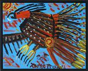 Sale 8449A - Lot 579 - Trevor (Turbo) Brown (1967 - 2017) - Wild Bush Turkey Jumping Around 41 x 51cm