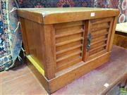 Sale 8634 - Lot 1005 - Small Showa Cypress & Cedar Tansu, having two sliding doors, with inscription to base Beauty of Hidesuke in the 17th Year, ex Made...