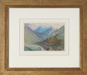 Sale 8767 - Lot 2040 - Artist Unknown - Mountain Valley Vista 14.5 x 21cm