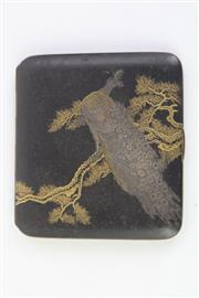 Sale 8802 - Lot 259 - Chinese Brass Card case with Peacock Motif