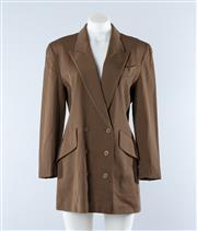 Sale 8800F - Lot 5 - An Escada by Margaretha Ley double breasted virgin wool blazer in khaki, size 36