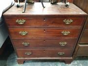 Sale 8917 - Lot 1093 - George III Mahogany Bachelor Chest of Four Graduated Drawers, on bracket feet
