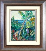 Sale 9019 - Lot 2017 - Artist Unknown - Banana Trees at Villa Beach 29 x 23 cm (frame: 51 x 45 x 3 cm)