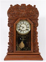 Sale 9007 - Lot 24 - American Ansonia mantle clock by Waterbury (H57cm) with key & pendulum