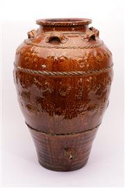 Sale 9015C - Lot 712 - A Brown Glazed earthern Vessel Featuring Floral Design (H 61.5cm)