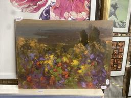 Sale 9111 - Lot 2064 - Artist Unknown Poppy Field, oil on board (unframed), 30 x 40 cm