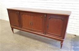 Sale 9137 - Lot 1034 - Four door chest with parquetry front and brass mount caryatids - 126 (h97 x w202 x d48cm)