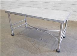 Sale 9151 - Lot 1061 - Vintage metal frame laminate top coffee table (h45 x w90 x d45cm)