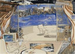Sale 9141 - Lot 593 - Judith White View of Sydney Harbour, 1988 mixed media on paper 76 x 115.5 cm (frame: 106 x 133 x 4 cm) signed and dated lower right