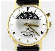 Sale 8402W - Lot 28 - PAUL GARNIER MINU STOP PARKING METER WATCH; sunburst dial with applied markers, centre seconds, half moon aperture with black dial f...