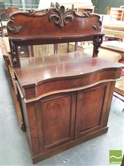 Sale 8428 - Lot 1086 - Early Victorian Carved Mahogany Chiffonier, with mirror back & shelf, above a long drawer & two panel doors