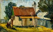 Sale 8504 - Lot 565 - Elioth Gruner (1882 - 1939) - Cottage 12.5 x 20.5cm