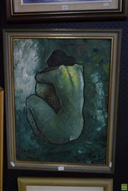 Sale 8569 - Lot 2055 - Artist Unknown - Nude in Green 68.5 x 53cm