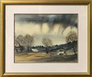 Sale 8671 - Lot 2034 - Jack McDonough, (sic) - Rain on the Farm, watercolour, 34.5x45.5cm, s.l.l