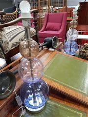 Sale 8724 - Lot 1037 - Pair of Glass Bulbous Vase Table Lamps