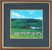 Sale 8781 - Lot 528 - Lawrence Starkey (1959 - ) - Pastoral Scene with Grazing Sheep 19 x 21.5cm