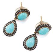 Sale 9054 - Lot 394 - A PAIR OF TURQUOISE AND DIAMOND DROP EARRINGS; each a double cluster set with an oval and pear shape cabochon turquoise framed by ro...