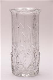 Sale 9018 - Lot 18 - Italian Acanthus embossed textured glass vase, possibly Fidenza Italy, H:23.75cm