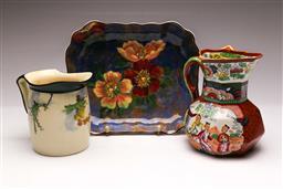 Sale 9104 - Lot 64 - A Masons Ceramic Jug Together with A Royal Doulton Kookaburra Jug and A Floral Dish