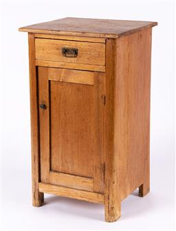 Sale 9199J - Lot 72 - A pine bedside table with single drawer over cupboard door, Height 71cm x Width 41 x Depth 31cm