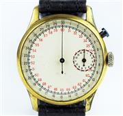 Sale 8402W - Lot 29 - AN ARTILLERY SINGLE BUTTON CHRONOGRAPH WRISTWATCH; 30 second centre sweep with 1/10th second divisions, 15 minute subsidiary dial, g...