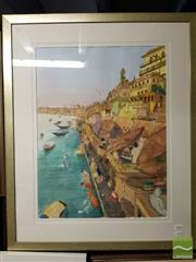 Sale 8491 - Lot 2056 - Jim Keller - The River Ganges, watercolour, frame size: 86 x 70.5cm, signed lower centre