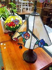 Sale 8648 - Lot 1096 - Two Pairs of Leadlight Shade Table Lamps