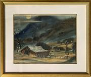 Sale 8671 - Lot 2033 - Jack McDonough (sic) - Farm Shed & Wind Mill, watercolour, 34.5 x 55.5cm, s.l.l -