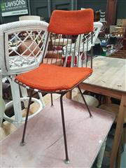 Sale 8680 - Lot 1068 - Wire Framed Dining Chair with Orange Cushion