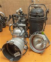 Sale 8984M - Lot 6 - A collection of non matching stage lights (six small and three large)