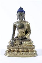 Sale 9010 - Lot 5 - Sino-Tibetan Painted & Gilt Bronze Buddha (H17cm)