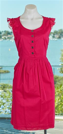 Sale 9120K - Lot 17 - A Burberry Brit fuchsia pink ruffled sleeve dress; with pleated bottom size UK 8