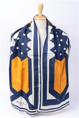 Sale 9092F - Lot 32 - A LANVIN PARIS SILK SCARF; in navy and mustard, Length 158cm