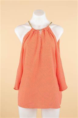 Sale 9250F - Lot 92 - A Michael Kors orange blouse with decorative gilt chain, size S.