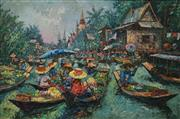 Sale 8613 - Lot 2030 - Artist Unknown - Floating Markets, Bangkok 1991 58 x 88cm