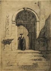 Sale 8696A - Lot 5045 - Lionel Lindsay (1874 - 1961) - The Bishops Door 24.5 x 16.5cm