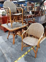 Sale 8740 - Lot 1017 - Cane 3 Piece Outdoor Suite with Table and 2 Chairs