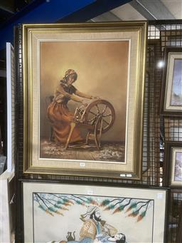 Sale 9111 - Lot 2055 - Fleur Rowley The Weaver, oil on board, frame: 78 x 62 cm, signed lower right