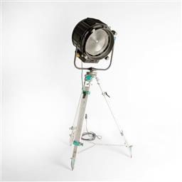 Sale 9252AD - Lot 5083 - VINTAGE ITALIAN POLLUX SPOTLIGHT: film or theatre lamp with aluminium shade mounted on old surveyor adjustable tripod (h.144 - 194 c...