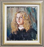 Sale 8344 - Lot 575 - Norman Lindsay (1879 - 1969) - Young Lady With Golden Locks 47.5 x 40.5cm