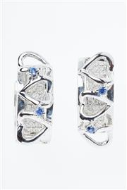 Sale 8299J - Lot 344 - A PAIR OF 18CT WHITE GOLD DIAMOND EARRINGS; hoops with front panels each pave set with 42 round brilliant cut diamonds to heart desi...