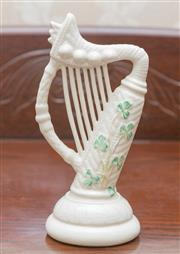 Sale 8375A - Lot 38 - A Belleek model of an Irish harp. Height of harp 16 cm