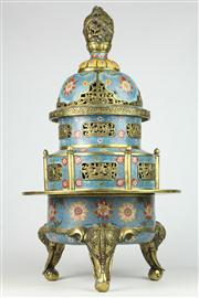 Sale 8456 - Lot 25 - Cloisonne Tripod Incense Burner