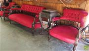 Sale 8469 - Lot 1022 - Red Upholstered 3 Piece Parlour Suite