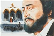 Sale 8552 - Lot 2036 - Allan Waite (1924 - 2010) - The Tenor Pavarotti 35 x 53cm