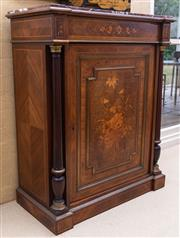 Sale 8550H - Lot 73 - An antique French Napoleon III rouge marble top pier cabinet C: 1860, the frieze enhanced with inlaid floral sprays,  single panel d...
