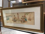 Sale 8726 - Lot 2025 - A. Poisson - Woman by the Water Fountain, watercolour, 50 x 100 (frame size), signed lower left