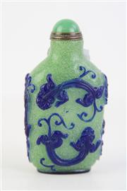 Sale 8823 - Lot 78 - A Chinese Green Glass Overlay Blue Snuff Bottle (H 8cm)